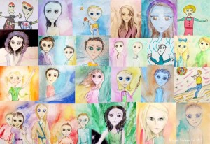 Collage of Drawings of Hybrid Children