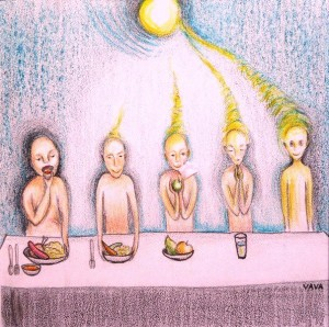 Beings in a line each eating less dense food and absorbing more light and free energy demostrating the importance of listening to your body
