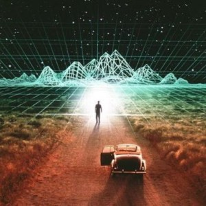 Man walking into an energy grid representing that You are your own Holographic Universe