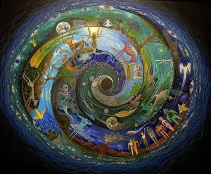 Spiral of people and animals represent All Is One