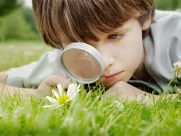 Young boy looking through magnifying glass trusting in synchronicity to teach what is needed