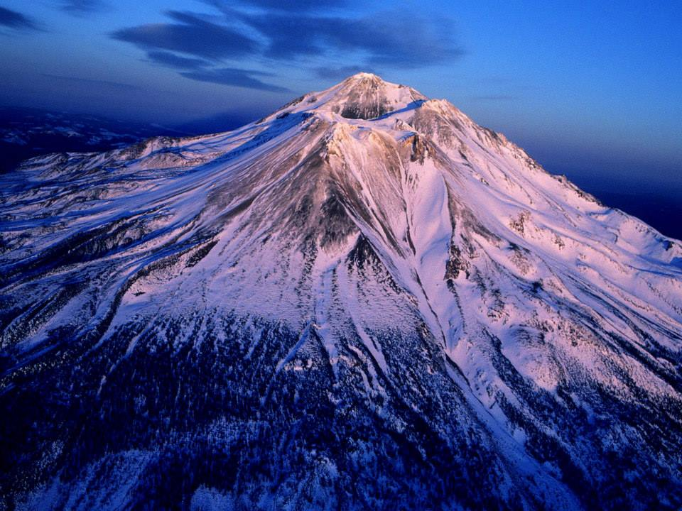 Sunset on Mt Shasta, California the Crown Chakra of Earth