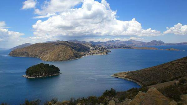 Beautiful view of Lake Titicaca in Peru, the solar plexus of Earth