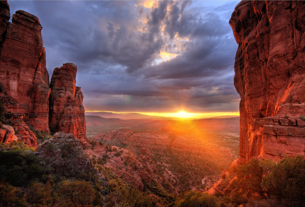 Beautiful view of Sedona sunset, major Earth vortex