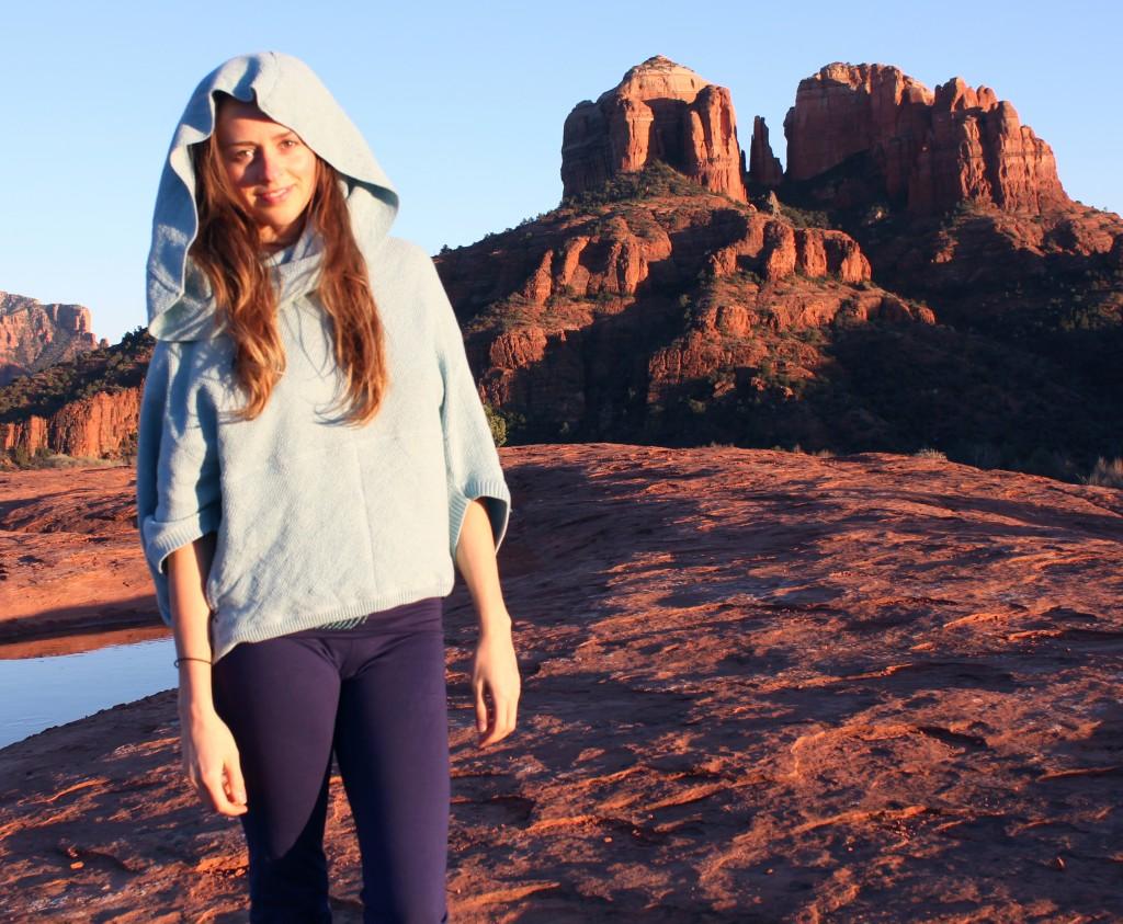 Girl in blue sweater in Sed