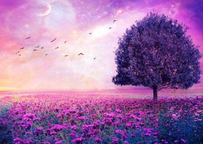 Violet Birds Tree